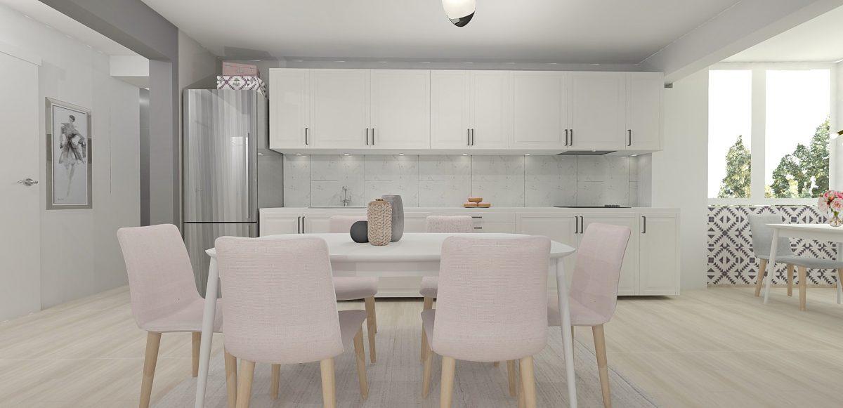 Bucătărie în nuanțe de roz